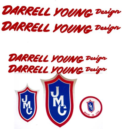Red JMC® Racing BMX Vinyl Rub-on Darrell Young Design Decal set
