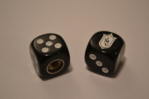 Black/white JMC Racing BMX Valve Caps