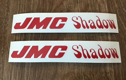 2 Red JMC® Shadow Frame Decals.